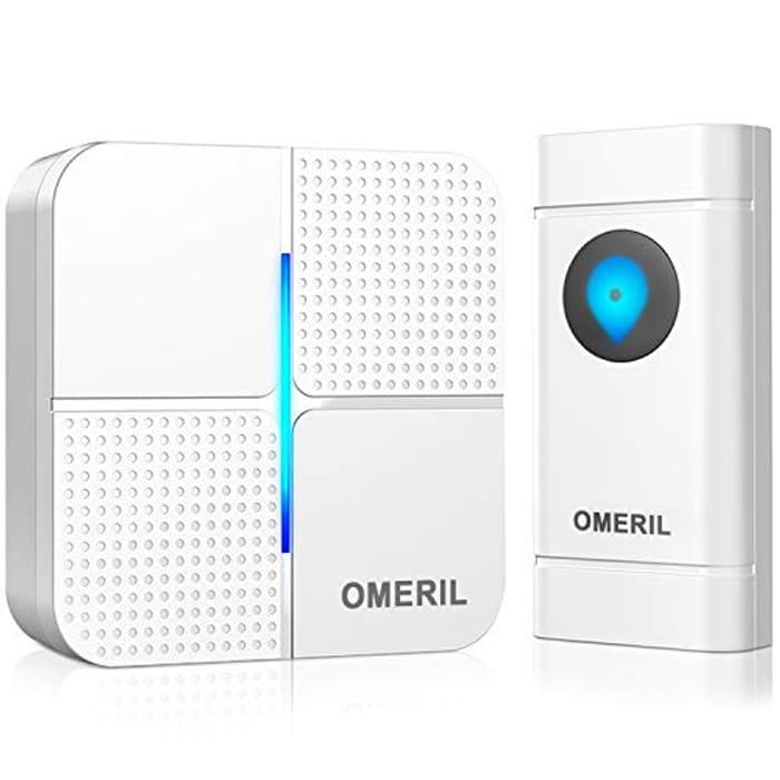 Wireless Doorbell, OMERIL IP55 Waterproof Door Bell Chime Kit with 1000ft Range
