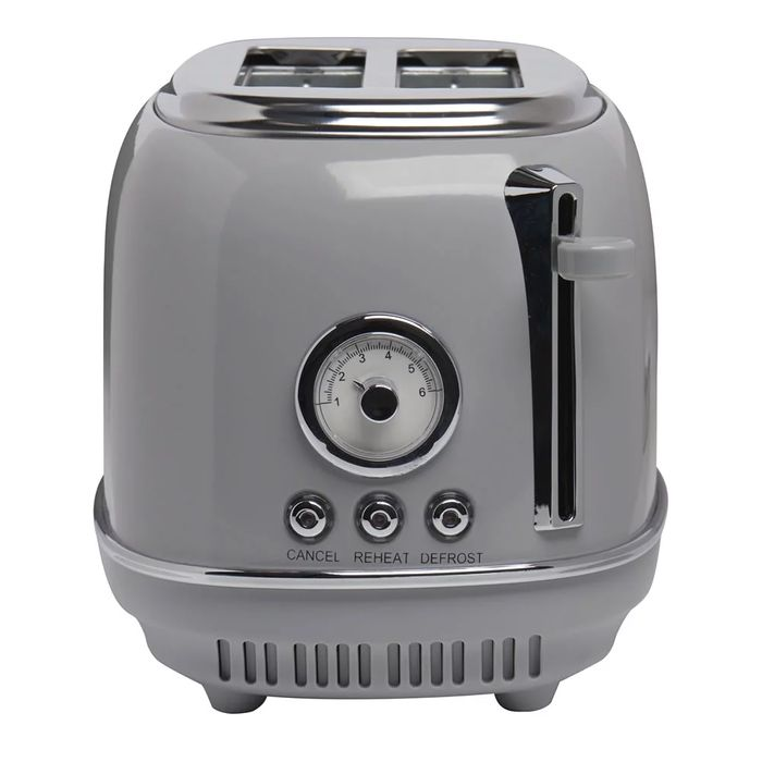 Wilko Grey Retro Also in Cream 2 Slice Toaster