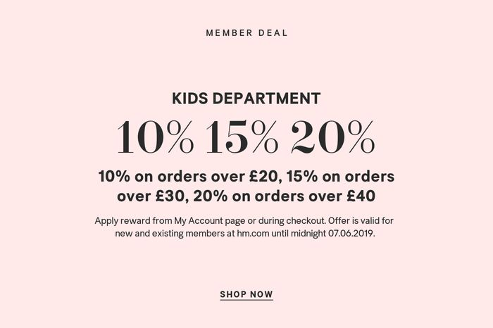 H&M - Tonight Only! Members Get up to 20% off Kidswear.