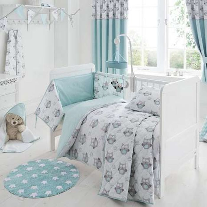 Little Owls Cot Bed Size Duvet Cover and Pillow Case