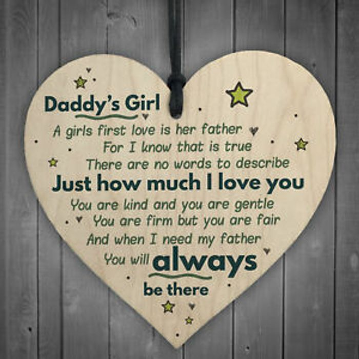Daddy's Girl Hanging Wooden Heart FATHERS DAY Gift for Him Daughter Thank You