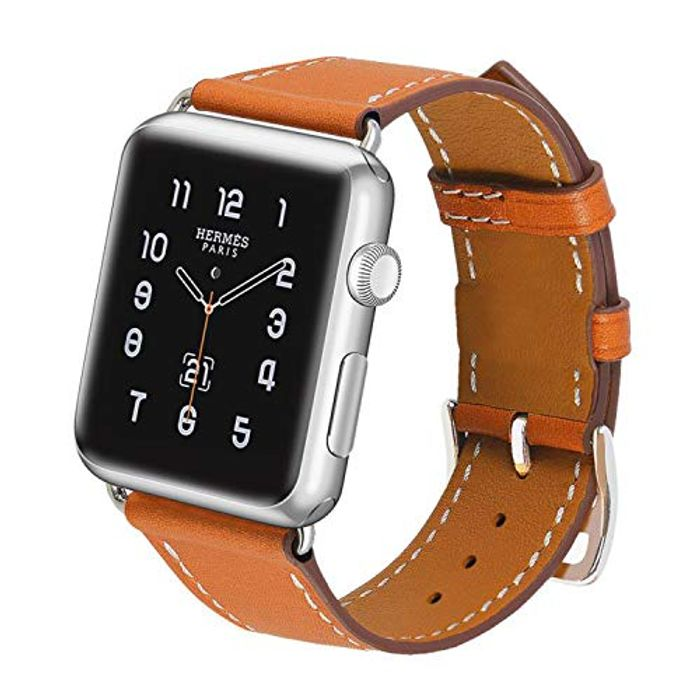 PUZESHUN Strap Compatible with iWatch Strap 42mm Genuine Leather