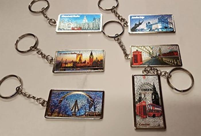 Best Price 6 Pcs 3D I Love London England Souvenirs Gifts Metal Keyring