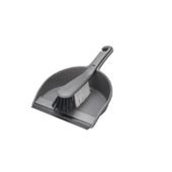 Addis Stiff Dustpan & Brush Set Metallic