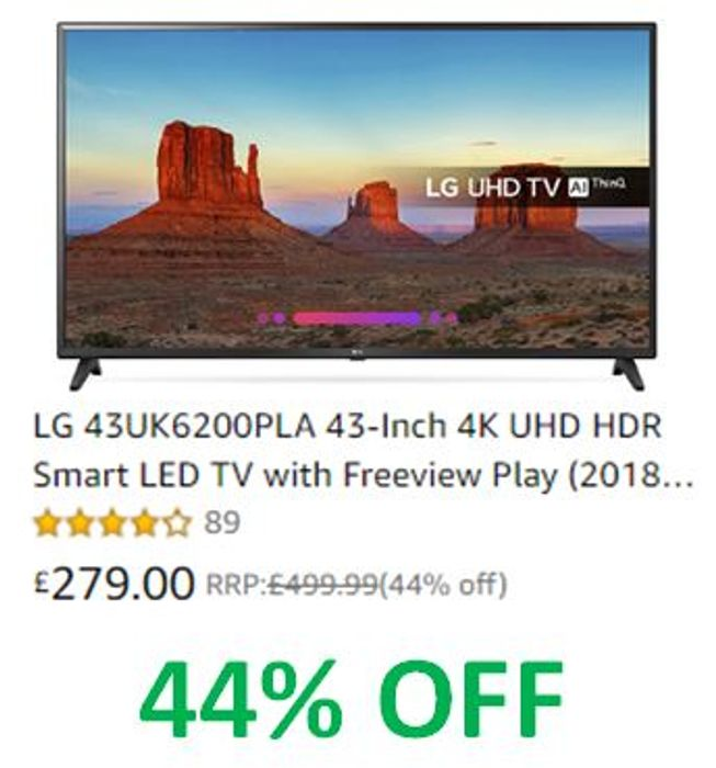 44% OFF! LG 43-Inch 4K UHD HDR Smart LED TV with Freeview Play
