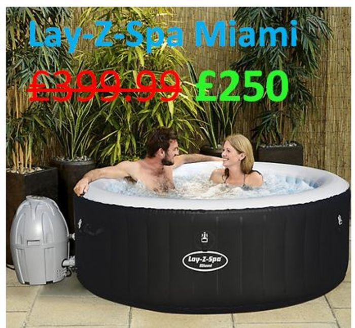 SAVE £149.99! Lay-Z-Spa Miami 4 Person Hot Tub