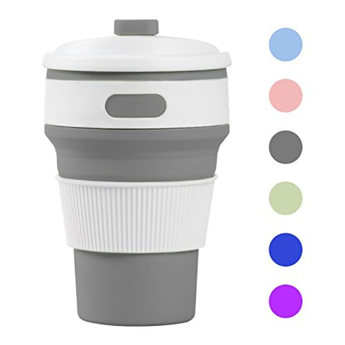 Prochive Collapsible Silicone Lightweight Coffee Cup, Grey FREE DELIVERY