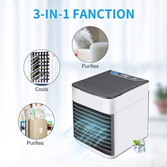 Oenkeise 3 in 1 Portable Air Cooler Fan Humidifier Purifier Mini USB Desktop Fan
