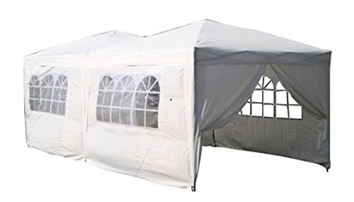 White 6 X 3m Fully Waterproof Pop up Gazebo with Six Side Panels and Carrybag