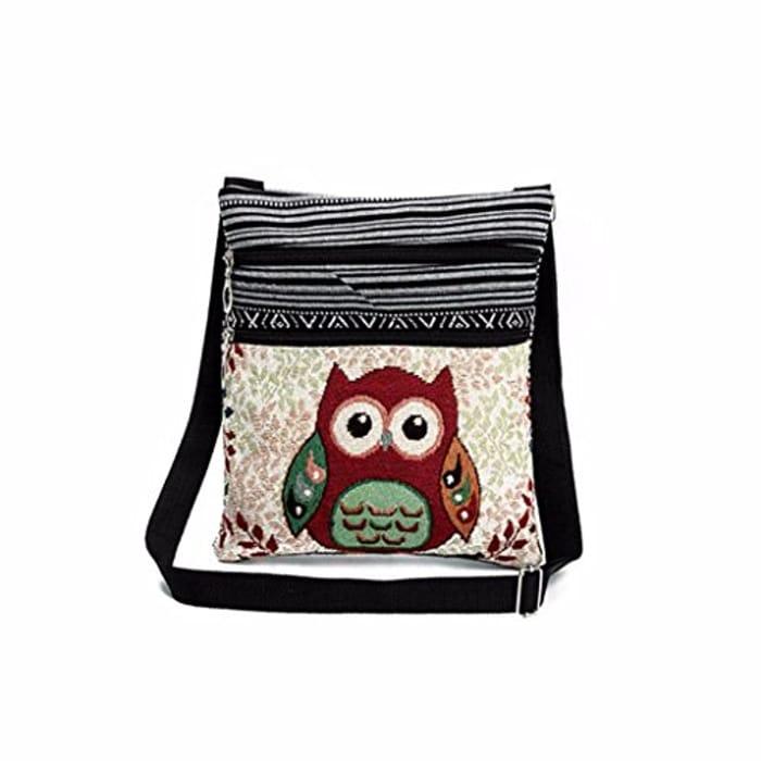 Casual Ladies Girls Embroidered Owl Print Tote Bags Women Zipper Shoulder Bag