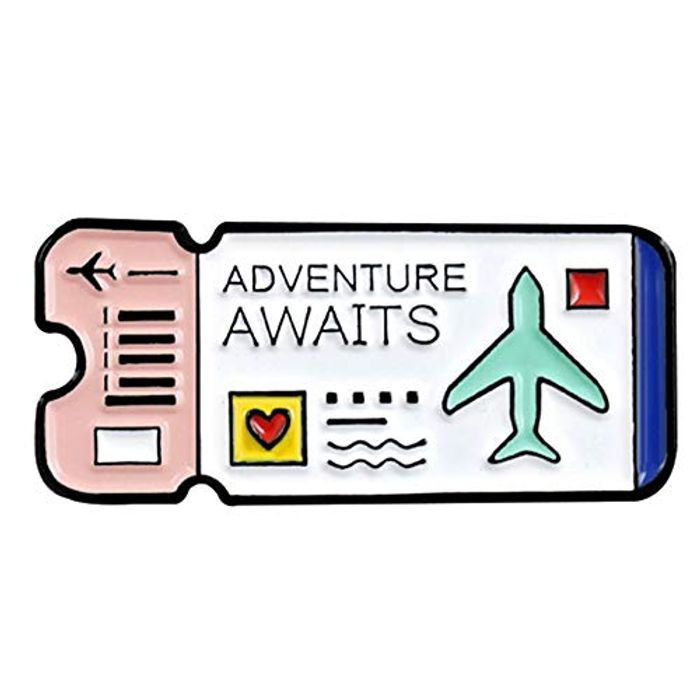 Adventure Awaits Pin Badge FREE DELIVERY
