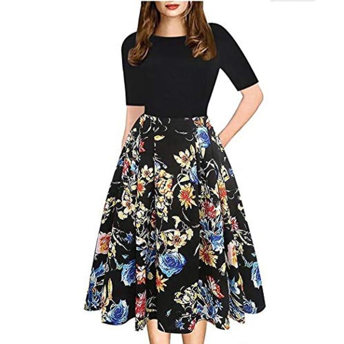 Womens Elegant Floral Dress 70% Off