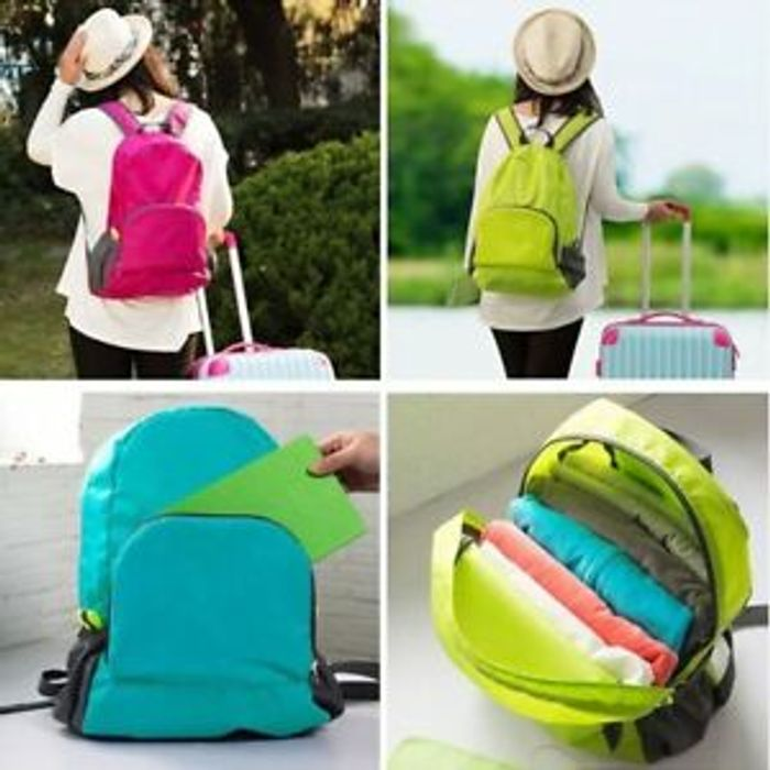 Lightweight Foldable Rucksack, Green and Red Rose