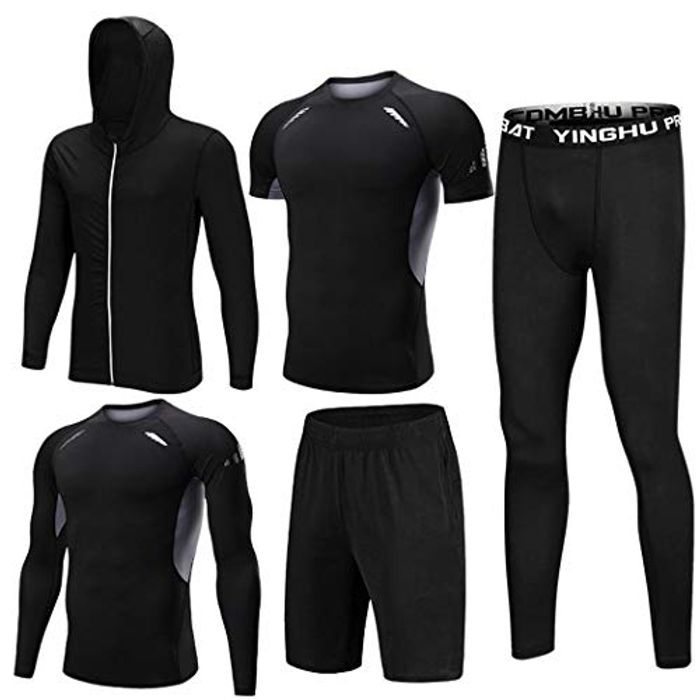 Ultrey Man 5 Pieces Fitness Gym Sports Suits for Men Sports Wear Compressive