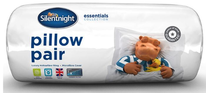 Silentnight Essential Collection Hollowfibre Bed Pillows-Set of 2 for Only £5.39