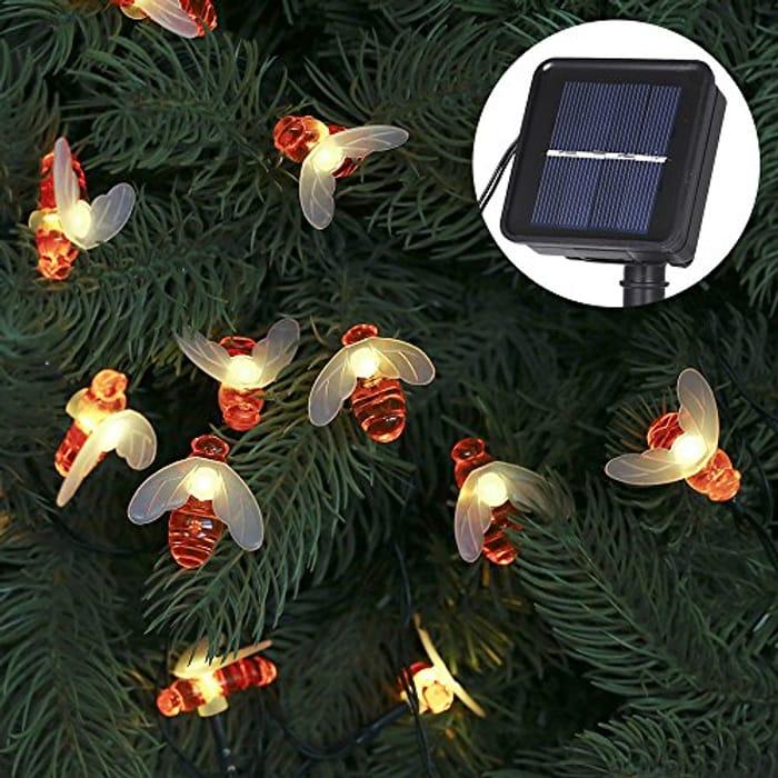 Lightning Deal Solar Powered Bee String Lights