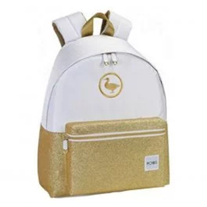 Moos Large White & Gold Glitter Backpack