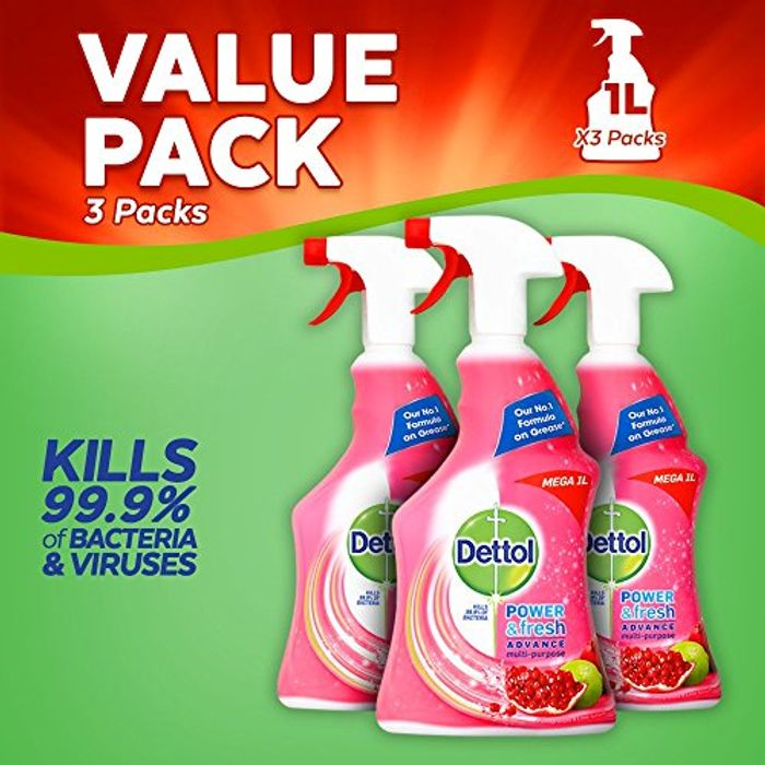 Dettol Clean and Fresh Multi-Purpose Cleaning Spray 1 Litre, Pack of 3