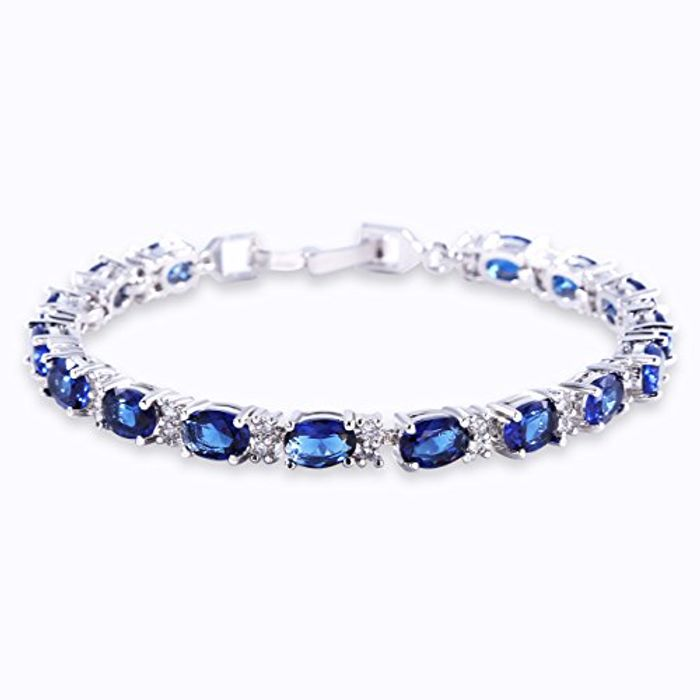 GULICX White Gold Electroplated Cubic Zirconia Blue Crystal