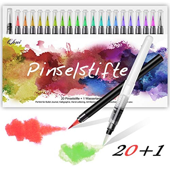 Qhui Brush Pens 20 Colours + 1 Water Brush,