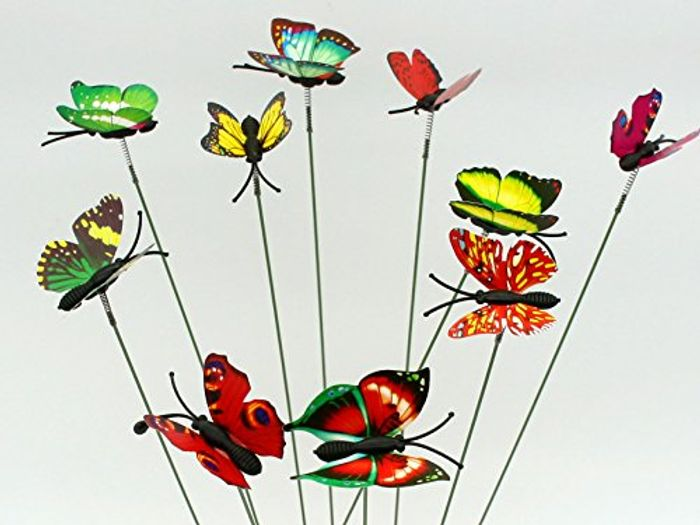 SecretRain Miniature Garden Fairy Ornament 10pcs Butterflies on Sticker
