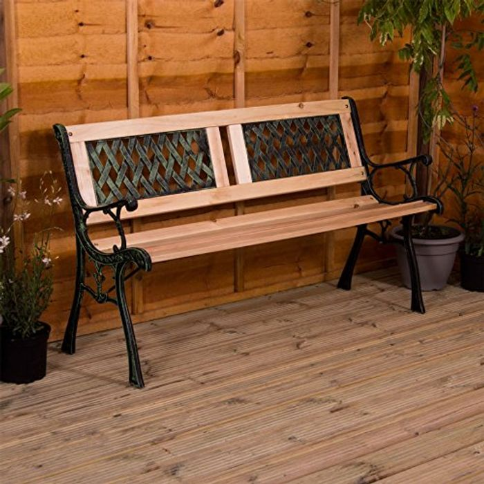 Home Garden Bench, Twin Cross Style Design 3 Seater