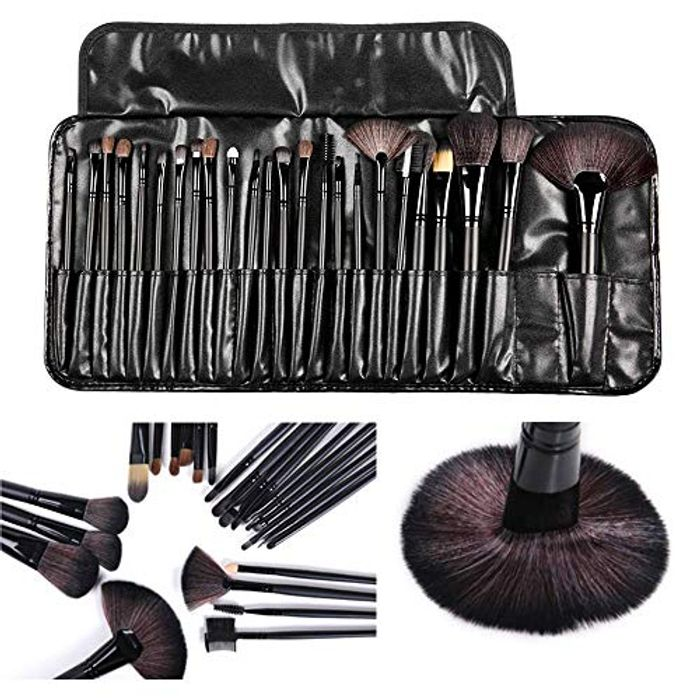 24 Pcs Makeup Brush Set with Portable Case Beauty Brushes Kit