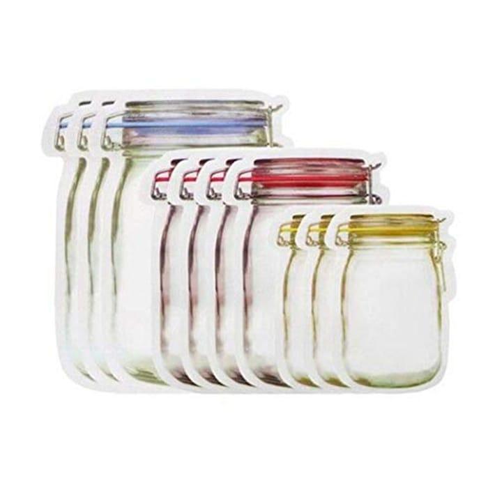 Xixini Food Storage Bag Set 10pcs Seal Transparent Snacks Moisture-Proof Bag