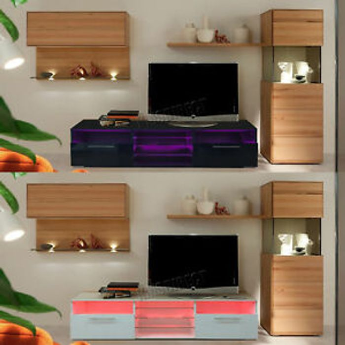 Westwood Modern LED TV Unit Stand Cabinet High Gloss Doors Matte Cabinet
