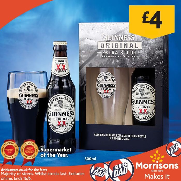 Guinness Original Bottle and Glass Gift Set £4 for Fathers Day