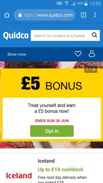 Quidco £5 Bonus on £5 Spend + Cashback
