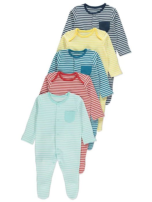 Striped Sleepsuits (5 Pack) Only £12