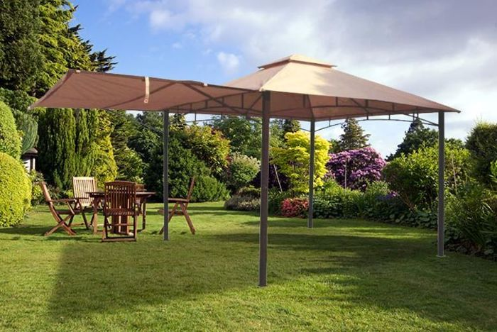 3x3m Metal Gazebo W/ Awning - Save 57%