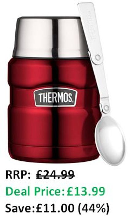 SAVE £11 TODAY - Thermos Stainless King Food Flask, Red, 470 Ml