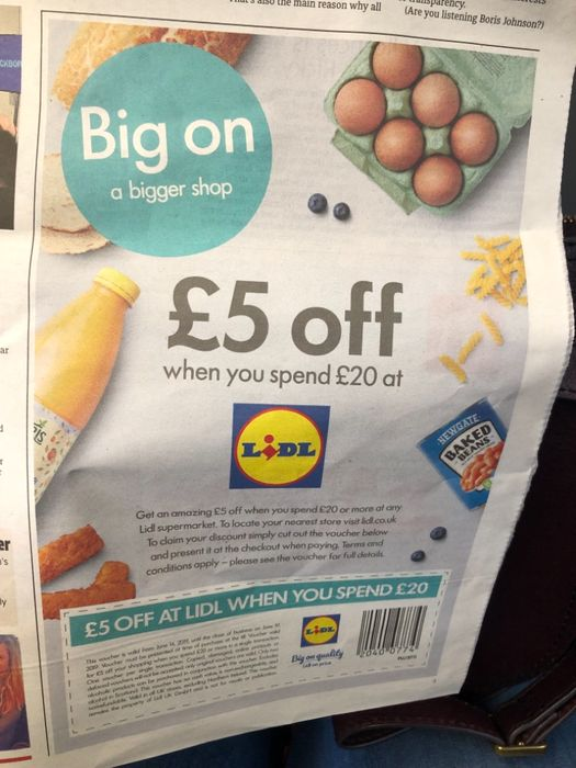 £5 of a £20 Spend at Lidl. Voucher in Metro Newspaper