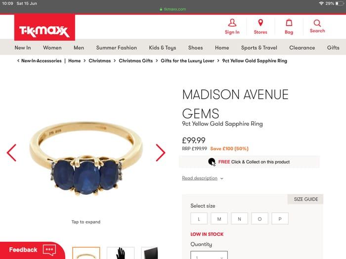 MADISON AVENUE GEMS 9ct Yellow Gold Sapphire Ring