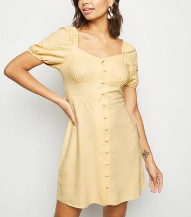 Pale Yellow Linen Blend Milkmaid Dress
