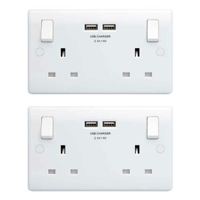 BG 2 Gang 13A Switched Wall Double Socket Twin USB. Output 2.1A - Pack of 2