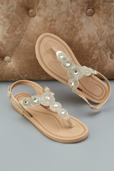 Encrusted Scallop Cut Sandals