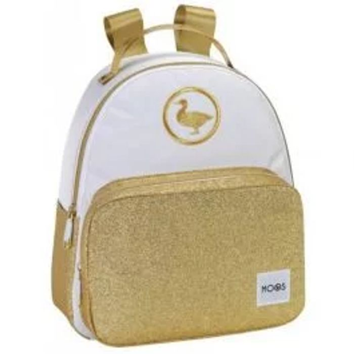 Moos Small White & Gold Glitter Backpack
