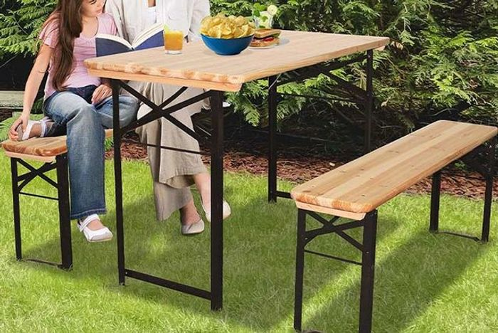Wooden Picnic Bench and Table Set!