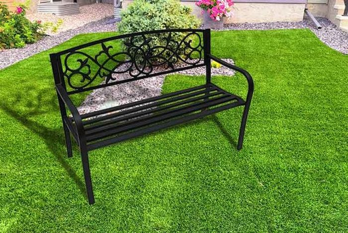 2-Seater Black Metal Garden Bench