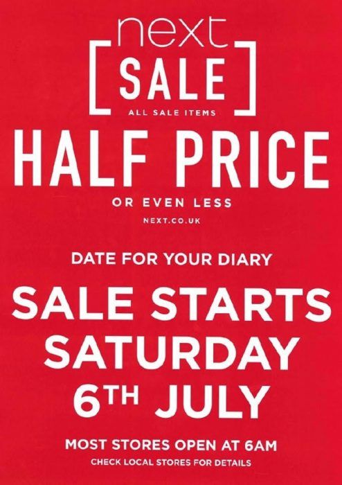 Next Summer Sale 2019 Start Date Saturday 6th July 2019 10