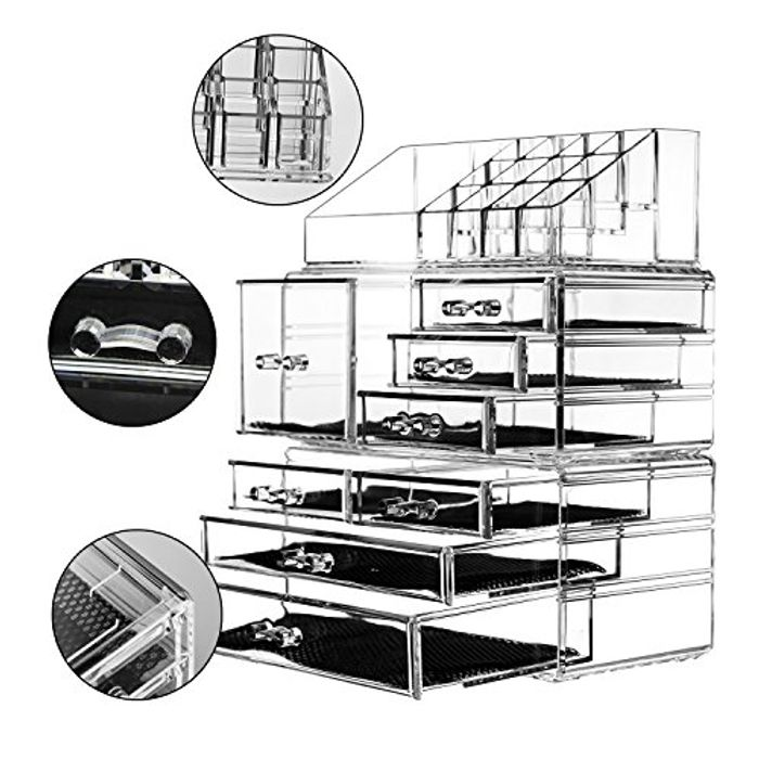 Unique Home Acrylic Jewelry and Cosmetic Storage Makeup Organiser Set, 3 Piece