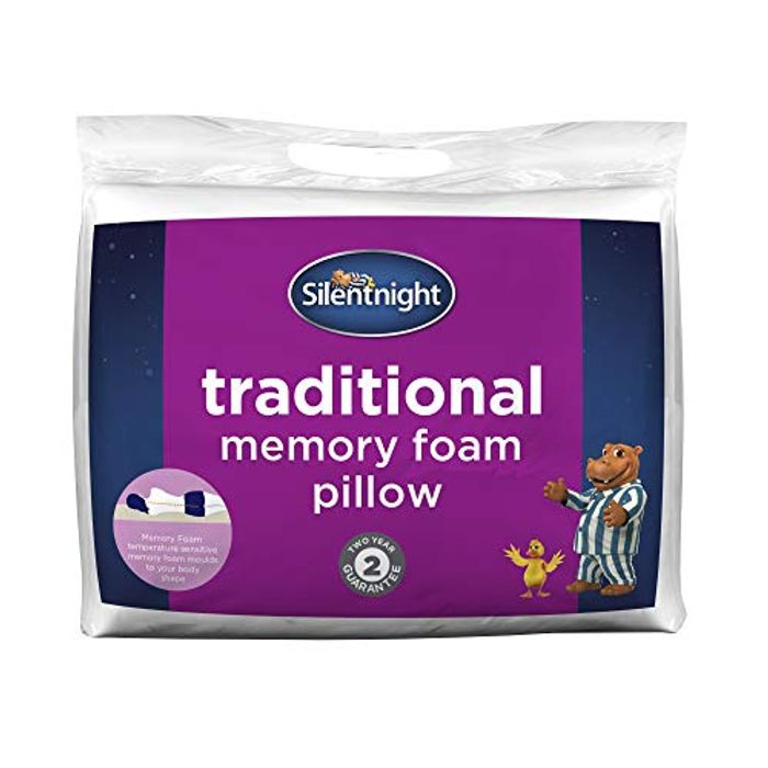 Silentnight Memory Foam Pillow, Cotton, White, Single