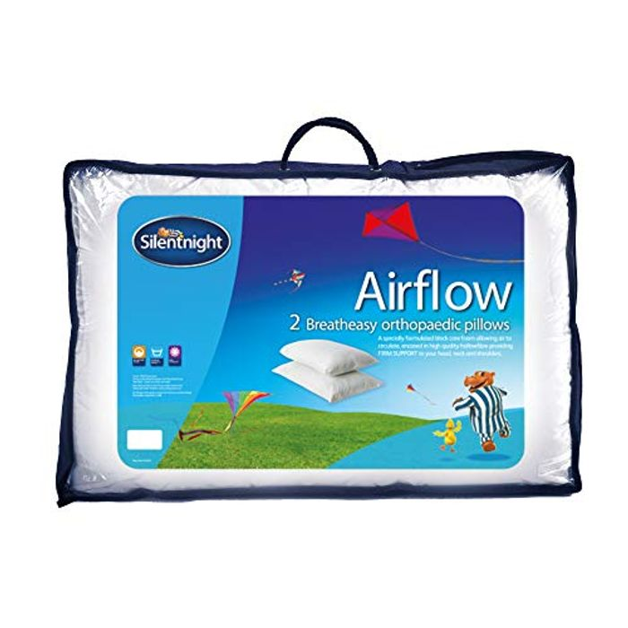 Silentnight Airflow Support Pillow, White, Pack of 2