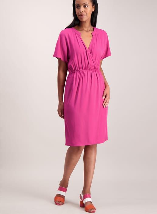 Raspberry Slouch Wrap Dress