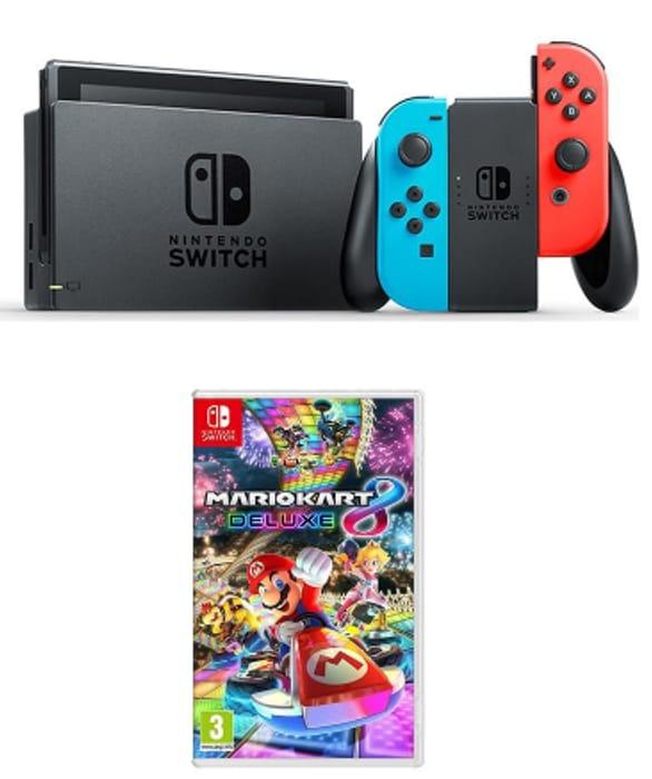 NINTENDO Switch Neon Red & Mario Kart 8 Deluxe Bundle Only £299