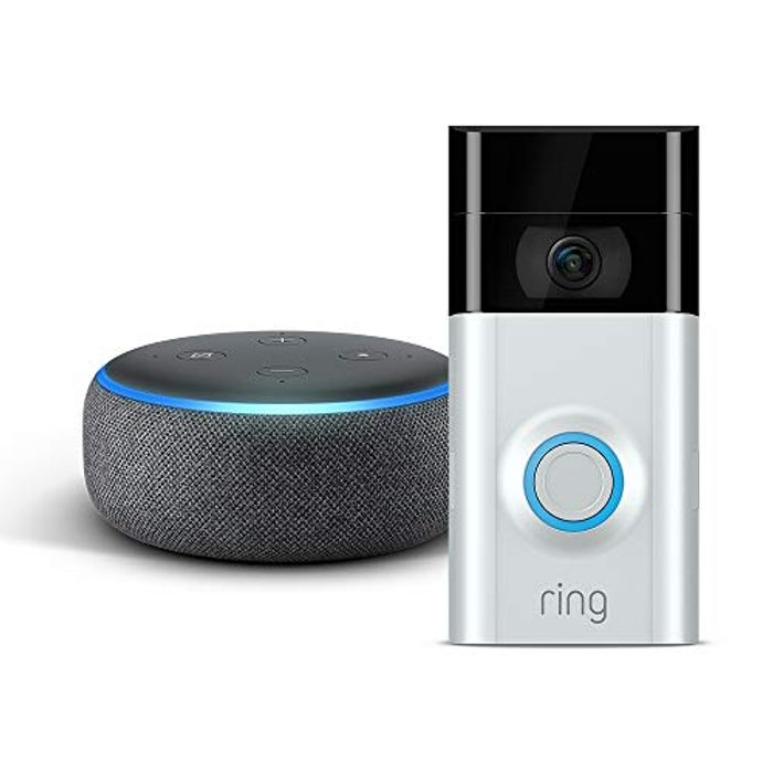 The New Echo Dot - Charcoal Fabric plus Ring Video Doorbell 2