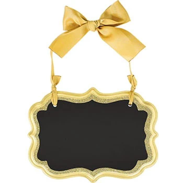 Gold Glitter Mini Hanging Chalkboard Sign